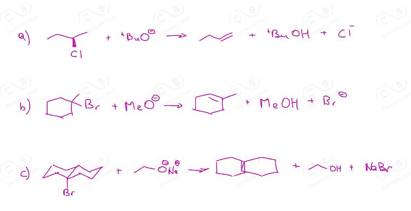 E2 reaction curved arrow mechanism