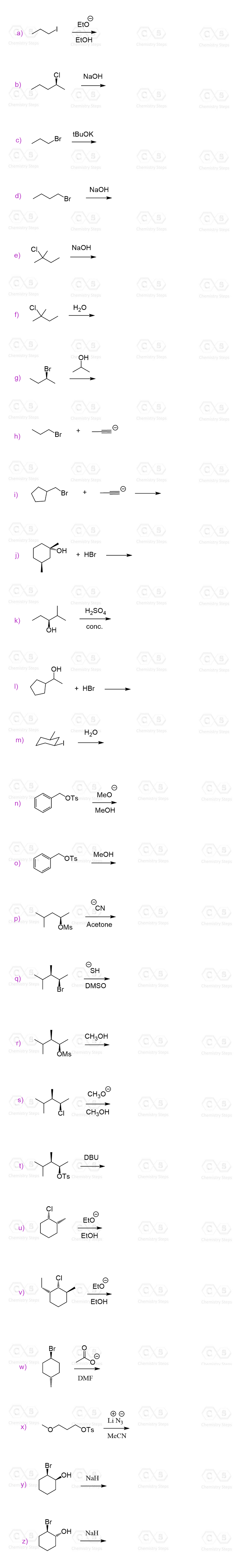 When is the mechanism SN1 SN2 E1 E2 practice problem exercise nucleophilic substitution elimination